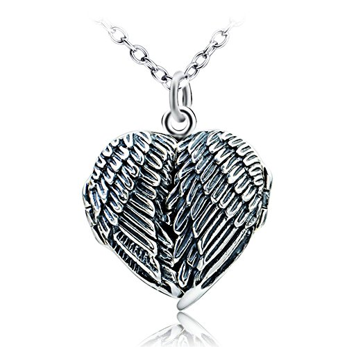 Picture Frame Locket - Angel Wings Feathered Locket Heart Pendant Necklace Sterling Silver Oxidized Picture Frame Jewelry