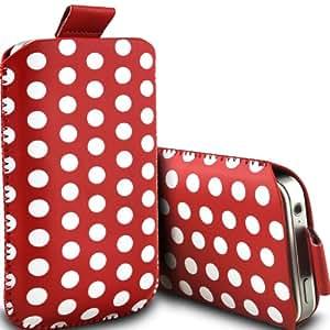 Samsung I9500 Galaxy S4 Protección Premium Polka PU ficha de extracción Slip In Pouch Pocket Cordón piel cubierta de liberación rápida Case Red & White por Spyrox