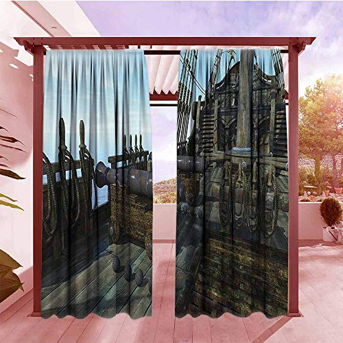 (AndyTours Indoor/Outdoor Top Curtain War Home Decor Deck of Old Fashion Vintage Wooden Cannon Warship Naval State Force Pirate Print Waterproof Patio Door Panel W72x108L Brown)