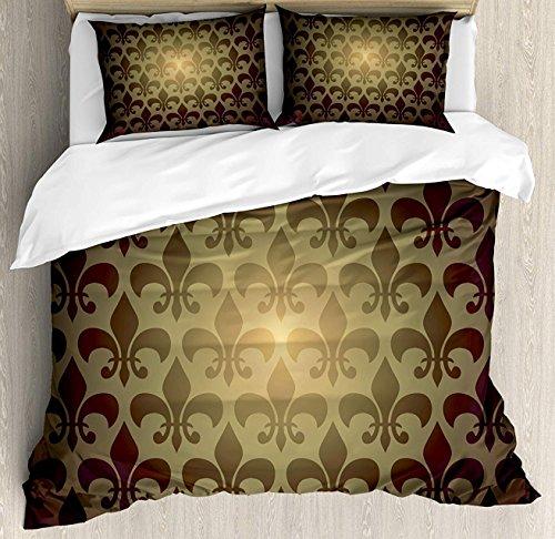 Crystal Emotion Fleur De Lis 4Pieces Home Comforter Bedding Sets Duvet Cover Sets Bed Sheet Bedspread for Adult Kids,Flat Sheet,Pillow Shams Set, Queen Size