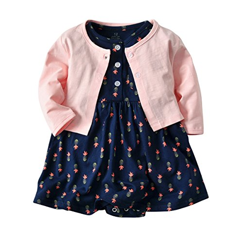 (Baby Girls Dress Set Long Sleeve Coat + Floral Toddler Romper Dresses 2Pcs Baby Girl Set Outfit Clothes (Pineapple, 24 Months))