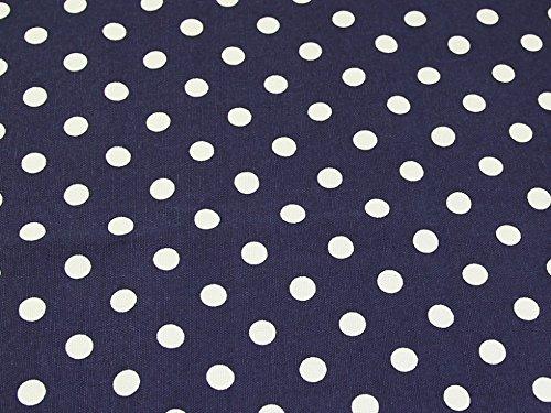 Spotty Polka Dot Print Cotton Canvas Fabric Navy Blue - per metre