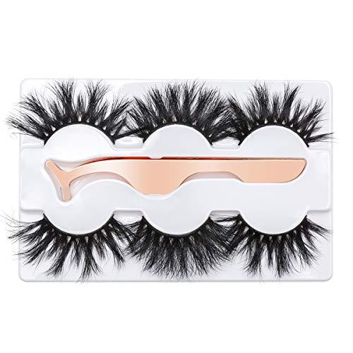 3D Mink Eyelashes 25MM Fluffy False Eyelashes Dramatic Thick Wispy Fake Eyelashes Handmade Long Soft Lashes with Tweezers Cruelty-Free Reusable Different Style 3 Pairs DYSILK (Best False Lashes For Prom)