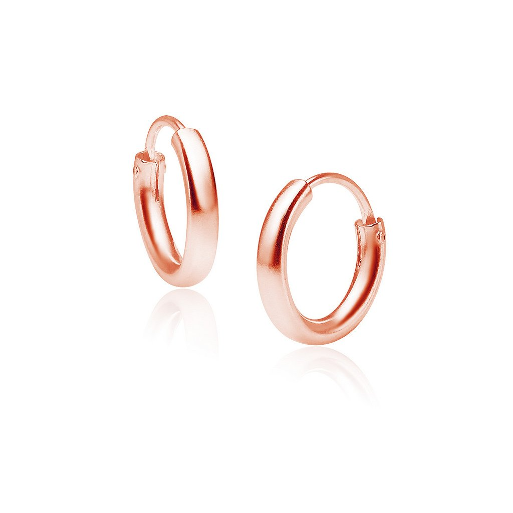 Sterling Silver Small Endless Hoop Earrings 2mm x12mm Rose Gold Flashed Finish