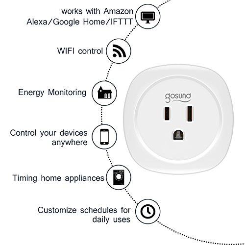 Smart Plug with Timer 2 Pack Energy Monitoring Wifi Plug Compatible with Alexa Echo Google Asistant IFTTT, no Hub Required, Control your Devices from Anywhere, ETL and FCC listed