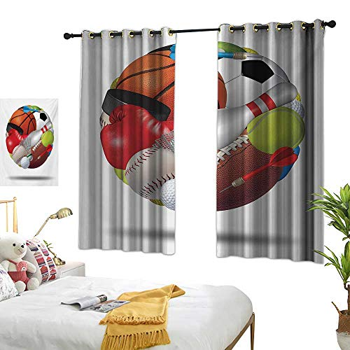 Sports Decorative Curtains for Living Room Soccer Ball Combined with Other Sports Equipment Universal Hockey Darts Boxing Fun W55 x L39,Suitable for Bedroom Living Room Study, etc. ()
