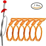 Drain Snake Hair Drain Clog Remover Drain Relief Auger Cleaning Tool (1 Stainless Steel and 6 Plastic)