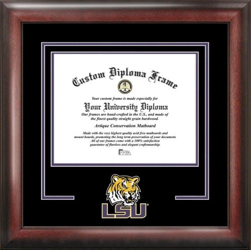 Brown Matboard - Campus Images NCAA LSU Tigers Spirit Diploma Frame, 8.5 x 11, Mahogany