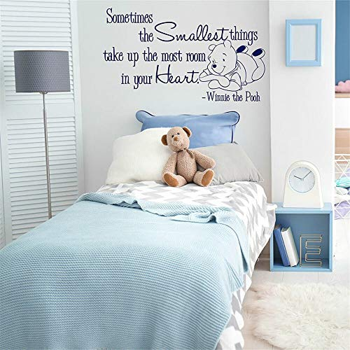 Winnie The Pooh Nursery Decal Quote Sticker The Smallest Things in Your Heart Bear Vinyl Wall Sticker for Kids Room Bedroom Star Baby Bear Bedroom Home Decor