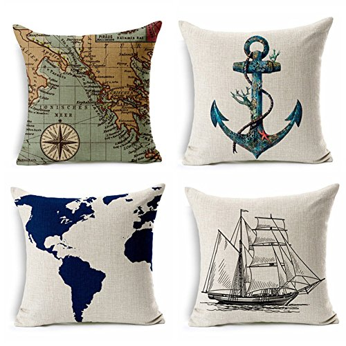 """YANGYULU Geography Theme Cotton Linen Home Decorative Throw Pillow Case Cushion Cover for Couch Sofa Bed 18"""" x 18"""" 4 Pack - 1xNavigation Compass + 1xSailboat + 1xMap + 1xAnchor (Nautical Theme)"""