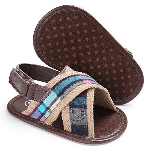 Hunpta Baby Kleinkind Canvas Jungs niedlich Krippe Schuhe T gebunden weichen Prewalker weiche Sohle Anti-Rutsch Schuhe Sandalen Braun