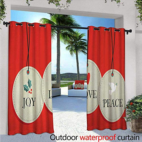 Box Pendant Pleat - BlountDecor Christmas Patio Curtains W72 x L96 Joy Love and Peace Words Pendants Merry Christmas Holiday Celebration Theme Outdoor Curtain for Patio,Outdoor Patio Curtains Vermilion Cream