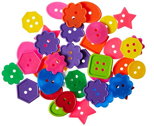 ROYLCO R2132 Bright Buttons, Assorted Sizes, Shapes and Colors, 1-Pound by Roylco