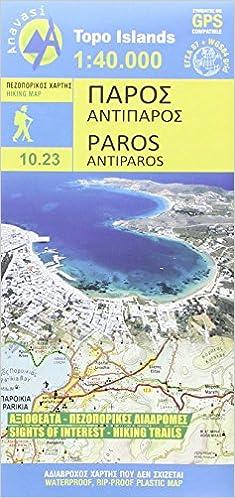 Kykladen Karte.Paros Antiparos 1 40 000 Topografische Wanderkarte 10 23