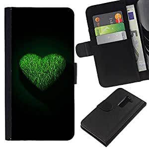 Ihec-Tech / Flip PU Cuero Cover Case para LG G2 D800 D802 D802TA D803 VS980 LS980 - Green Heart
