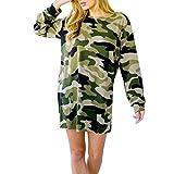 Sweatshirt Dresses, Gotd Women Long Sleeve Camouflage Long Sleeve Loose Shirt Blouse Tops (S, Green)