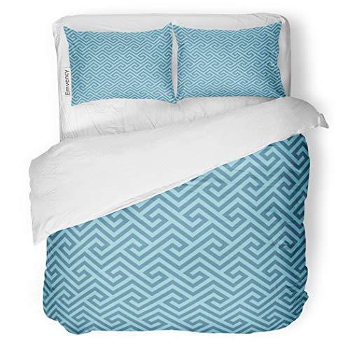 SanChic Duvet Cover Set Antique Blue Classic Meander Greek Key Neutal Tileable Decorative Bedding Set with Pillow Case Twin Size ()