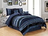 King Size Comforter Sets with Matching Curtains 7 Piece Navy Blue / Black Silver stripe Chenille Comforter set 106