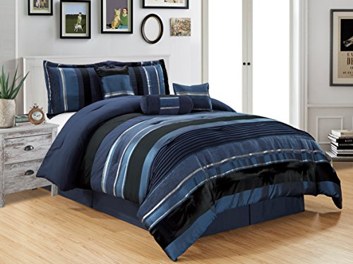 7 Piece Navy Blue/Black Silver stripe Chenille Comforter set 94