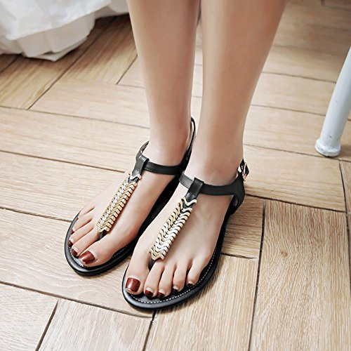 Carolbar Vrouwen T-stap Gesp Zandstrand Flip-flops Flats Sandalen Zwart