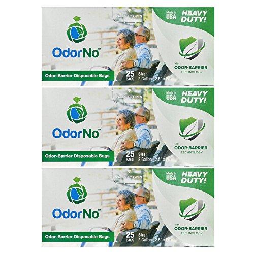 OdorNo Heavy Duty Disposal Bags, 2 Gallon, 3 Box of 25 Bags, (75 Bags Total)