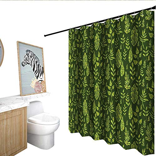 RenteriaDecor Sage Shower stall Curtains Patterned Green Leaves Nature Inspired Composition Fresh Trees Woodland Non Toxic Shower Curtain Apple Green Dark Green W72 x L84
