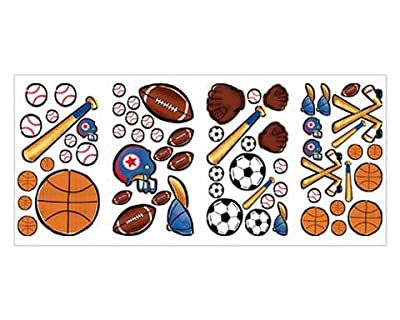 Sports Fun Baseball Soccer Hockey Basket Wall Stickers