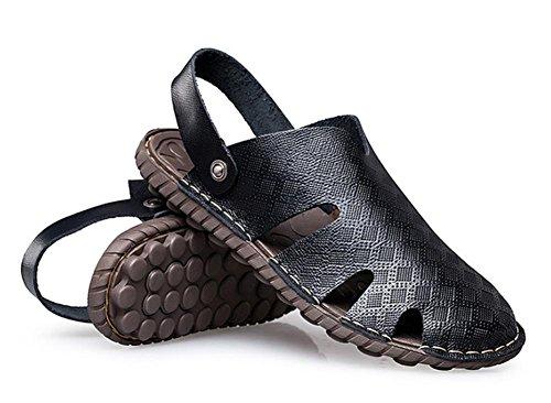 2017 nuevos zapatos de la playa del verano de las sandalias de cuero de los hombres Baotou Black