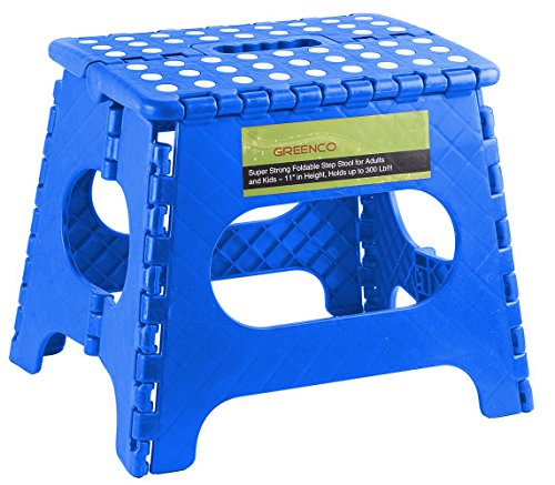 Greenco Super Strong Foldable Step Stool for Adults and Kids, 11'', Blue by Greenco