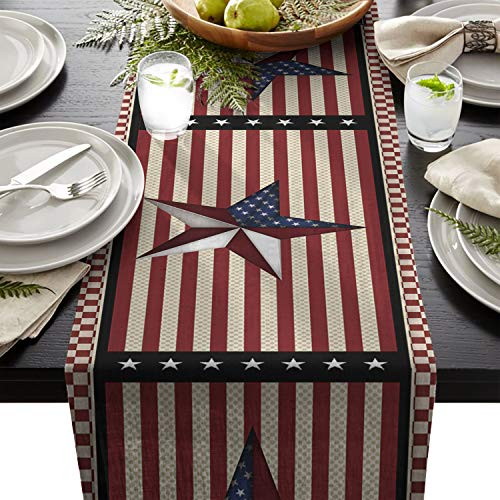 4th Of July Table Runner (Chic D 90inch Table Runner, 4th of July US Flag Stripes Check Cotton Linen Table Setting Decor for Wedding Party Holiday Dinner Home, Machine)