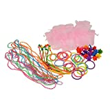 SmitCo LLC Girls Party Favors, Set Of 10 Pre-filled Goodie Bags Or Stuffers For Pool, Bowling or Tea Parties, Including 2 Neon Coil Bracelets, 1 Long Strand of Beads, 2 Emoji Rings and 1 Hair Piece