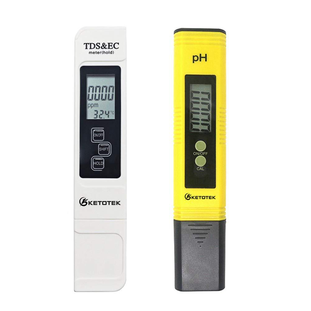 KETOTEK Digital Water TDS Tester PH Tester, TDS Meter has TDS-EC-Temp (3-in-1) and ± 2% Accuracy, PH Meter with 0-14.00PH and 0.01 Accuracy, TDS PH Meters for Aquariums, Hydroponics