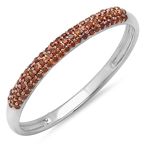 Dazzlingrock Collection 0.20 Carat (ctw) 10k Round Red Diamond Ladies Bridal Anniversary Wedding Band Stackable Ring 1/5 CT, White Gold, Size 6 (Diamond Band Burnished)