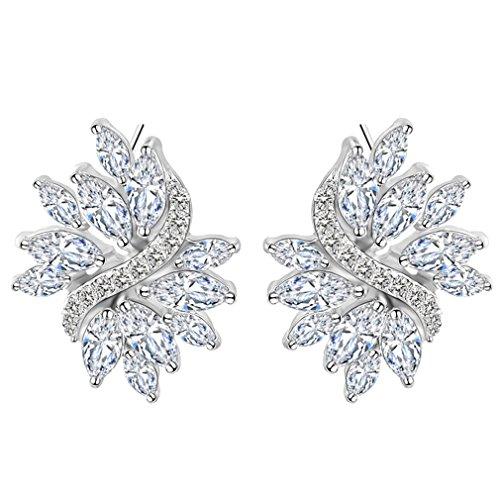 FENDINA Women 18K White Gold Plated Floral Leaf Pierced Bridal Wedding Earrings Cubic Zirconia Marquis Cut Stud (Kwiat Star Earrings)