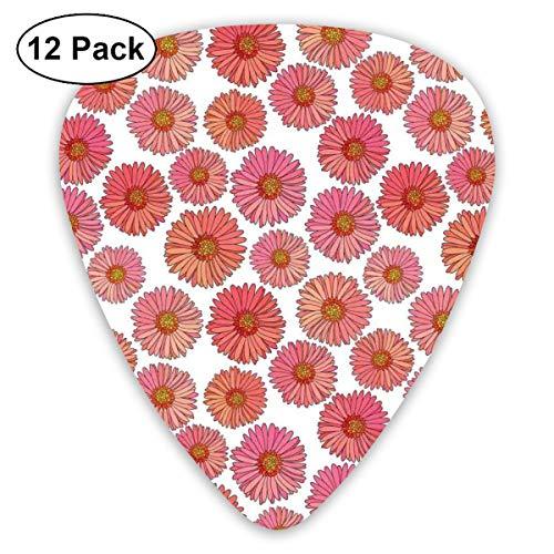 - Guitar Picks 12-Pack,Pink Blooms Flower Field Essence Fragrance Mother Nature Tropical Flourish