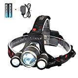 Smiling Shark 5000 Lumen Bright Headlamp Flashlight, 3 XML-T6 LED Headlight Torch with Rechargeable Batteries and Charger for Outdoor Sport