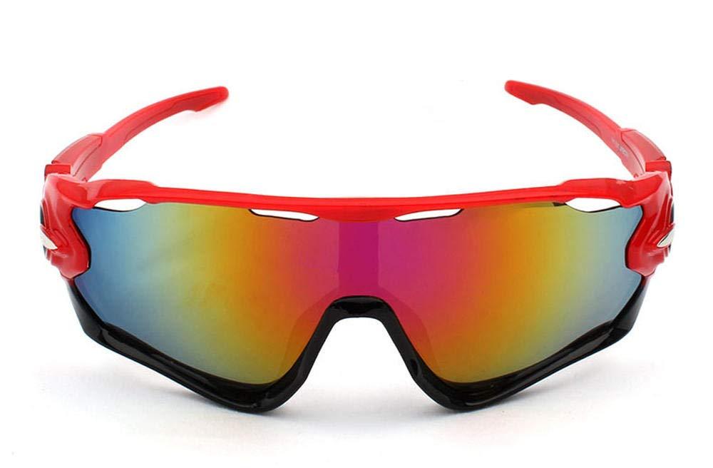 YUJIU Gafas de Sol/_Riding Gafas Gafas al Aire Libre Deportes Hombres Gafas de Sol@Cuadro Rojo pelicula roja/_como se Muestra