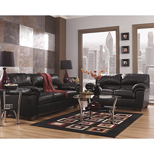 Flash Furniture Signature Design by Ashley Commando Living Room Set in Black Leather