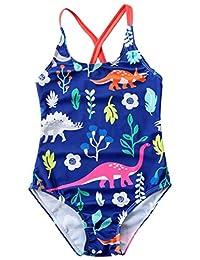 SUPEYA Kids Girls Sleeveless Cartoon Dinosaur Swimsuit Backless Bikini Bathing Suit