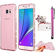 Samsung Galaxy A5 2017 Case Bling,Vandot Luxury Soft Flexible TPU Rubber Gel Diamond Clear Crystal Rhinestone Protective Cover for Samsung Galaxy A5 2017 A520+Glitter Anti Dust Plug+Touch Pen-Rose Red