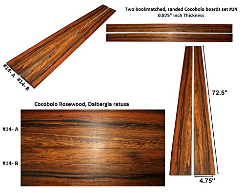 Cocobolo boards set #14,72.5 inches long x 4.75 inches wide x 0.875 inches thick by Unknown