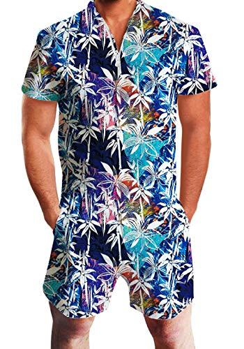 UNIFACO Men's Male Romper Leaves Original Romper Jumpsuit Costume 3D Graphic Personalized Short Sleeve Playsuit Overalls One Piece Slim Fit Medium ()