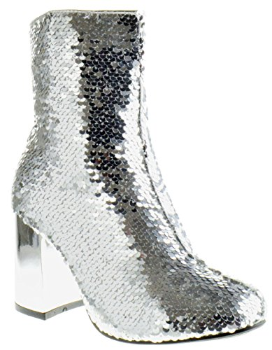 (Forever Link Abigale 43 Womens Sequin Chunky Heel Ankle Booties Silver 7.5)