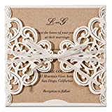 JOFANZA 100X White Laser Cut Wedding Invitations Cards with Ribbon Bow Lace Sleeve Invite Cards for Engagement Baby Bridal Shower Birthday Quinceanera Sweeet Engagement, Printable (Set of 100pcs)