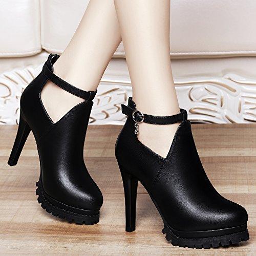 Jqdyl Tacones Zapatos de mujer Zapatos de tacón alto de tacón alto de primavera con zapatos gruesos, 34, B negro 34|B black