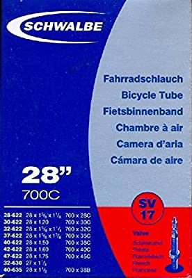 Schwalbe SV17 Bicycle Tube with Presta Valve 37-622 mm 28 x 1 3/8 x 1 5/8, 28 x 1.40 700C by Schwalbe