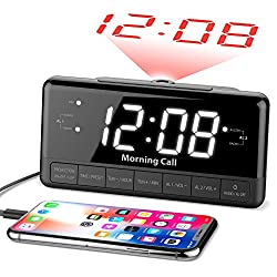 iLuv Morning Call 3, 1.2 Jumbo White LED Display Projection Dual Alarm Clock with 180 Degree Reverse Projection, FM Radio, 10 Preset Station, Sleep Timer, Snooze Button, Dimmer, and USB Charging Port