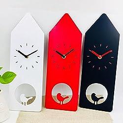 YAVIS 2018 New Design Cute House Shape MDF/Wood Wall Clock with a bird