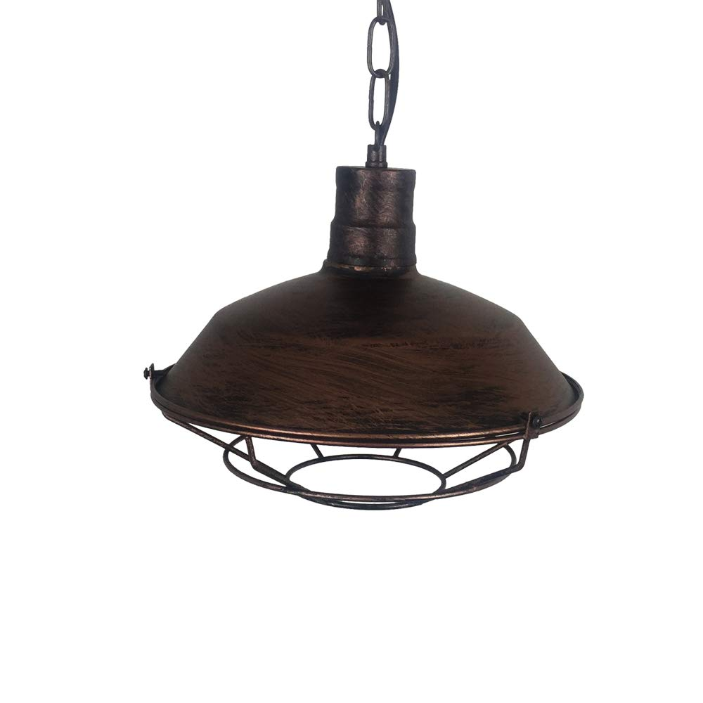 """One Light Industry Barn Style Hanging Pendant Light 14.2"""" Metal Cage Ceiling Mount Rustic Bronze Lighting Fixture with E26/e27 Base Adjustable Lamp Cord for Bar Counter Table Kitchen Lighting"""