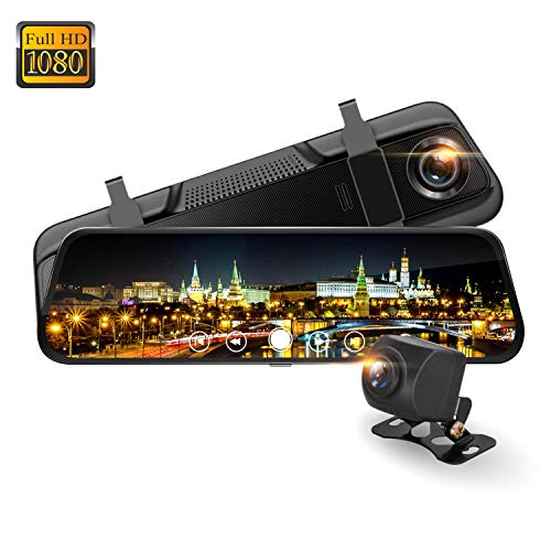 Spedal M8 Electronic Rear View Mirror Camera Dash Cam with Dual Wide Angle Lens, Full HD 1080P Front and Backup Camera,9.66″ Waterproof Full Touch Screen, Night Vision, G-Sensor and Loop Recording